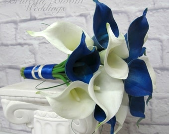 Calla lily Wedding bouquet Royal blue white real touch bridesmaid bouquet