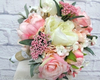 Romantic wedding bouquet - Pink cream peony rose bridal bouquet - Silk wedding flowers