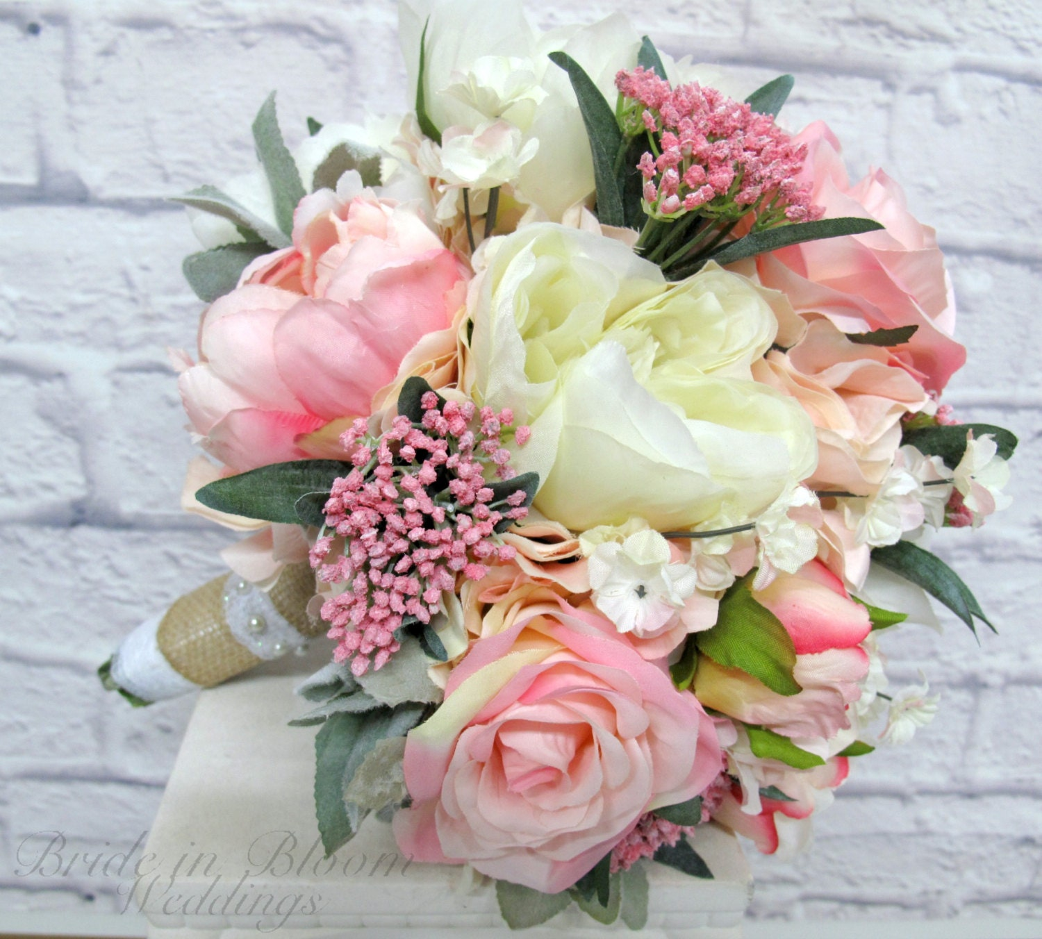 Wedding Bridal Flowers: Romantic Wedding Bouquet Pink Cream Peony Rose Bridal