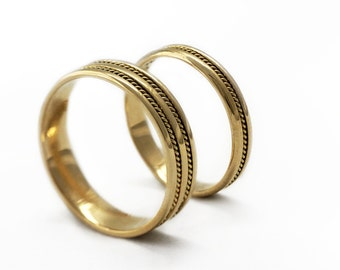 gold wedding ring sets braided bands wedding band for men filigran handmade rings - Yellow Gold Wedding Ring Sets