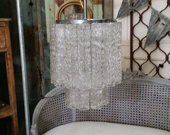 Double Row Venini Murano Tronchi Glass Chandelier