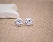 Silver Druzy Earrings, Druzy Stud Earrings, Large Druzy Earrings, Metallic Earrings, Faux Druzy Earrings, Silver Stud Earrings, Faux Plugs