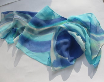 "HANDPAINTED SILK SCARF, chiffon, blues, abstract, 11"" X 60"""