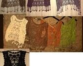 Hand dyed crochet lace gardigan vest gilet