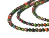 4mm Mixed Impression Jasper / small colorful round gemstone bead / 8 inch strand (1096S)
