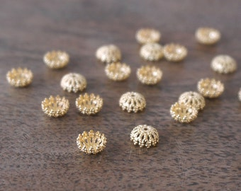 filigree bead caps for 8mm beads, gold plated, multiple quantities available  (1062BC)