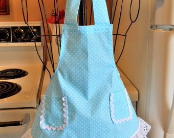 Toddler Baby Girl's Retro Vintage Style Apron in Aqua Polka Dots MADE TO ORDER