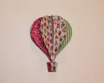 3d Paper Hot Air Balloon reddish pink, teal green stripes floral roses
