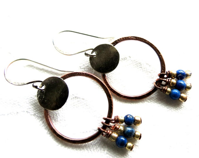 Lapis Lazuli Earrings, Rustic Earrings,  Bohemian Earrings,Blue Stone Jewelry,Silversmith Jewelry, Handcrafted Earrings, Handmade Earrings
