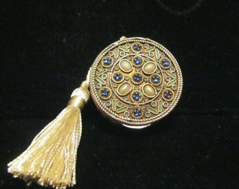 1800's French Gold Compact With Blue Rhinestones & Pearls Antique Compact Powder Compact Mirror Compact RARE
