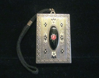 Antique Silver Compact Purse Wristlet Enamel Powder Rouge Lipstick Mirror Dance Purse RARE