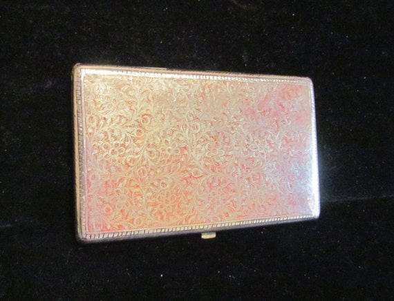 Alpaca Silver Cigarette Case Trench Art Case 1940s Enamel Business Card Holder Business Card Case