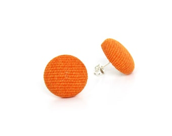 Tiny orange earrings - orange fabric earrings - orange button earrings - stud earrings tangerine small simple solid round - gift for her