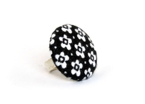 Large fabric ring - big black white button ring - flower ring - wedding - statement ring