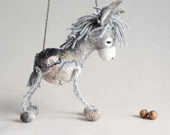Serafim - Felt Donkey. Art Toy. Felted Toys  Marionette, Puppet,  Animals, Felt Toy. grey gray. MADE TO ORDER