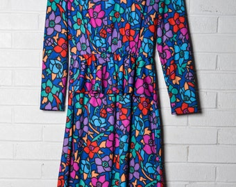 Vintage Paisley Dress Small Women's Colorful Peplum