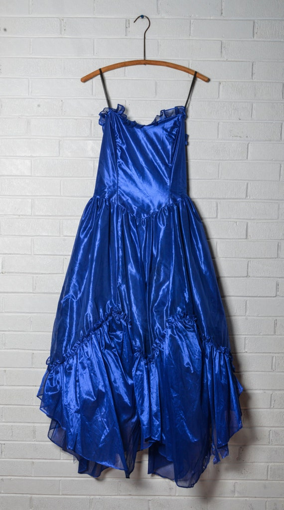 Metallic Cobalt Blue Prom 80's Dress Strapless by wingdingpop