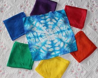 Winter Playsilk Set ~ 6 Rainbow Silks plus 1 Snowflake! Red, Orange, Yellow, Green, Blue & Purple ~ Hand Dyed ~ Waldorf Inspired
