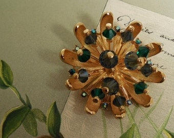 Signed ART Starburst Blue & Green Crystal Brooch