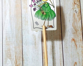 Garden Sign Chive Herb Metal Sign on Bamboo Stake UV Protected Against Fading 2x3 sign 12 inch stake Customizable