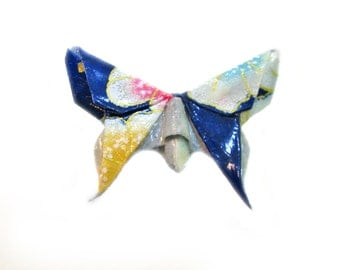 Origami Butterfly Brooch Summer Breeze Blue Yellow and Pink