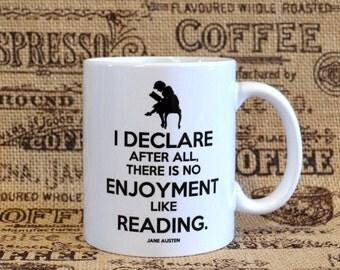 No Enjoyment Like Reading White Ceramic Mug - Inspired by Jane Austen's Pride and Prejudice
