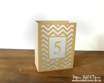 Chevron Wedding Table Numbers, Table Number Luminary, Shabby Chic Chevron Wedding, Shabby Chic Wedding