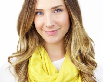 YELLOW CIRCLE SCARF, clementine, yellow jersey infinity scarf