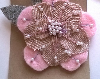 Pink and Grey Felt Flower Beaded Brooch || Embroidered