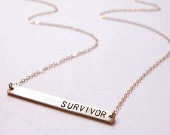 Survivor Necklace // Custom Necklace // Inspirational Jewelry // Power, Strength // Recovery, Healing, Health // Personalized // You Go Girl