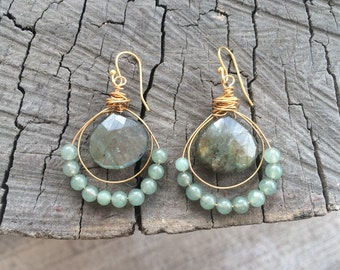 Labradorite and Jade Wrapped Earrings