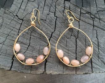 Pink Jade Hoops