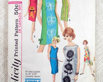 Simplicity 5309 1960s shift sack dress Bust 34 Square neck Sheath Vintage Pattern Mad Men Panel prints side slits