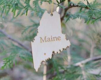 Natural Wood Maine State Ornament
