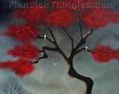 "Vulnerable 8"" x 10"" print of an original acrylic painting by Owen Klaas grey red tree"