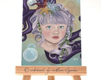 Mermaid Child Portrait Purple Octopus Tentacles Purple Hair Ocean Bubbles Fantasy ACEO ATC Art Card