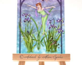 Dragonfly Fairy Dancing Flying Faerie Spring Flower Iris - Fantasy Art Card ACEO ATC