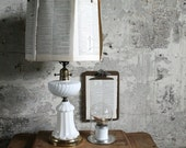 Vintage Milk Glass and Metal Lamp Base No. 2
