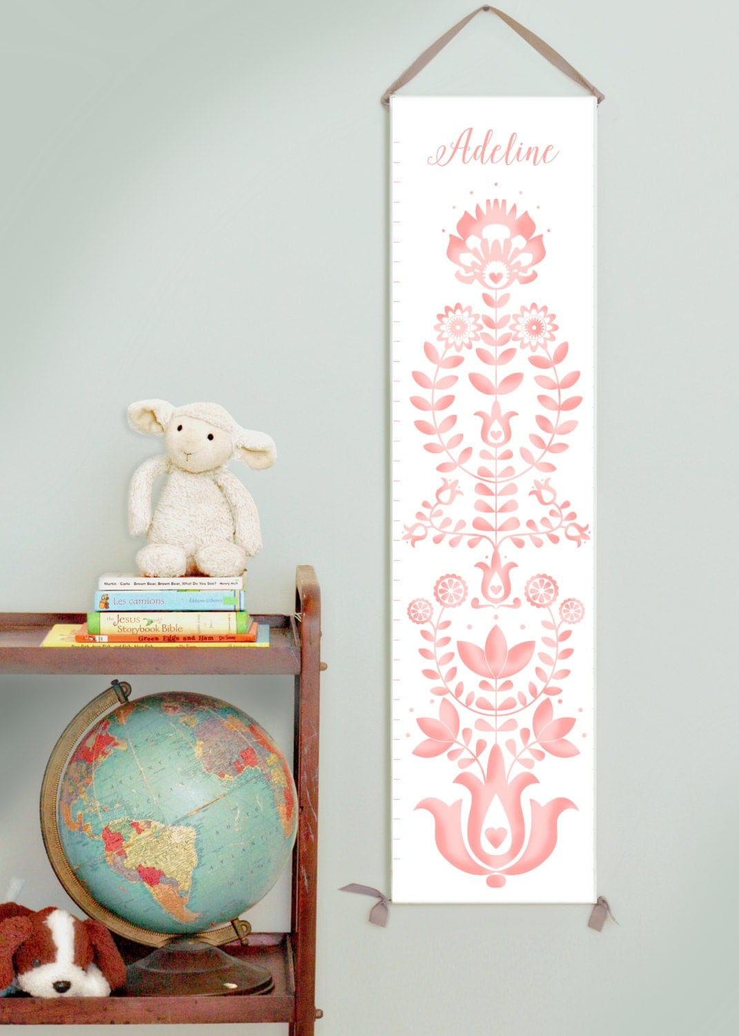 Custom/ Personalized folk art  pink canvas growth chart for girl's room