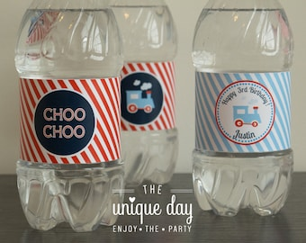 Printable Water bottle labels - Train birthday party- Choo Choo Train - Personalized // TRA-04
