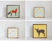woodland art for nursery - 4 set-5x5 art blocks- green nursery wall art- fox nursery-kid room decor