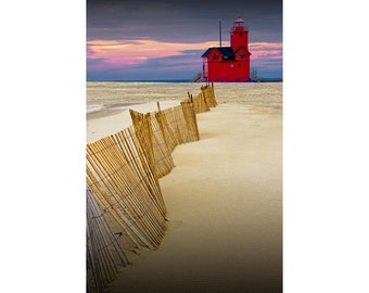 Big Red Lighthouse with Dune Fence at the Lake Michigan Shore by Ottawa Beach in Holland Michigan No.0091 Lighthouse Seascape Photography
