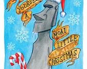 Have Yourself A Moai Little Christmas Tiki Postcard set of 20