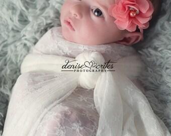 Coral Baby Headband, Newborn Headband, Coral Flower Headband, Baby Headbands, Baby Girl Headband