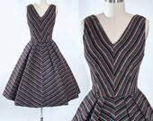Vintage 50s DRESS / 1950s Cotton Corduroy SUNDRESS Chevron STRIPE V Neckline Full Swing Skirt Garden Cocktail Party Rockabilly Pinup S Small