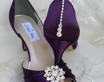 Purple Eggplant Bridal Shoes with Crystals - Over 100 Color Shoe Choices to Pick From Purple Eggplant Wedding Shoes Bridesmaid Shoes