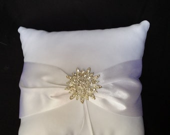 Ring Bearer Pillow Ring Pillow with Sparkling Burst Crystal Brooch