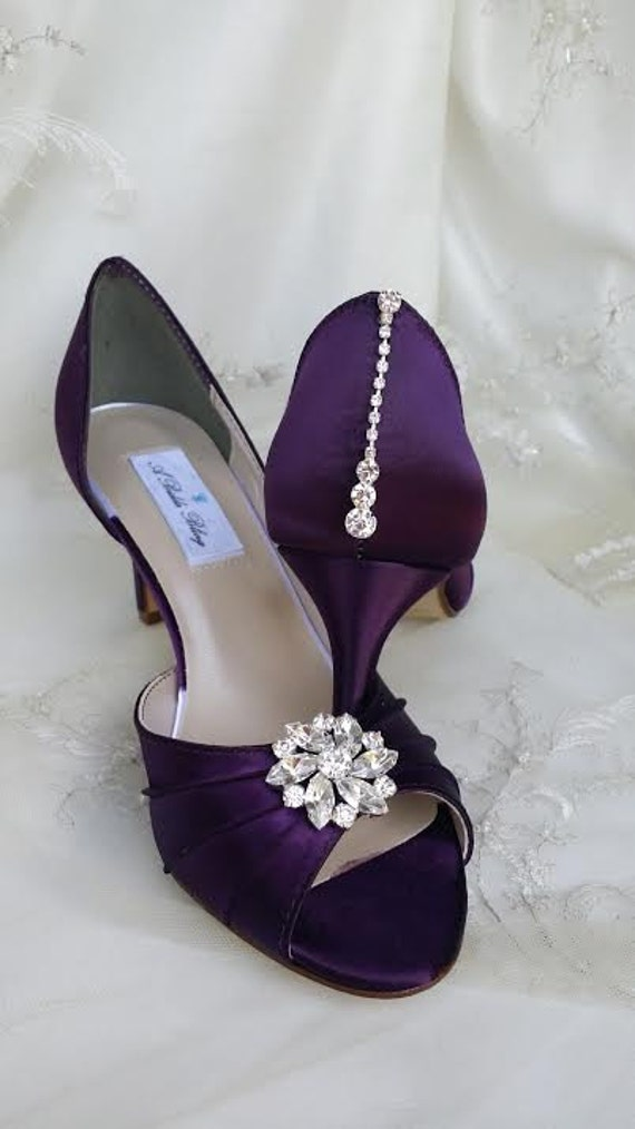 colorful wedding shoes purple eggplant bridal shoes with crystals 100 color 3012