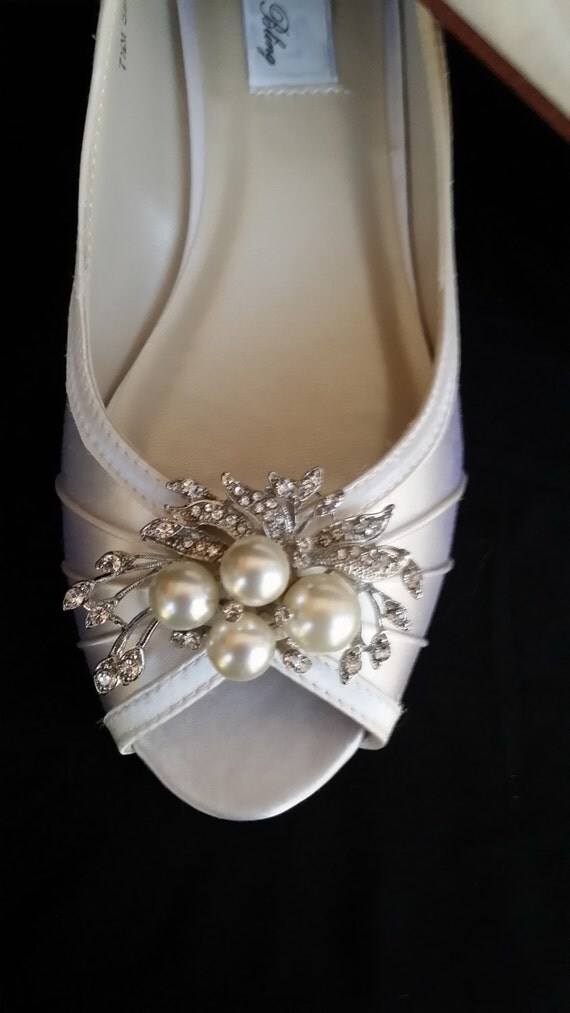 Wedding Shoes Wedge Shoes Bridal Wedges With Crystal Brooch