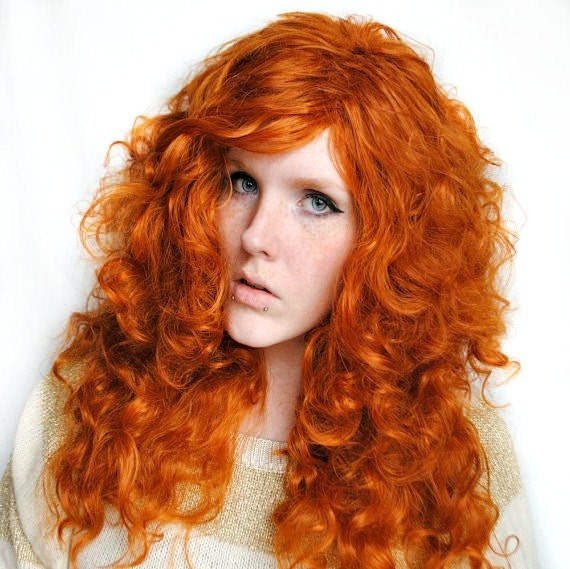 Long Curly Red Costume Wig 113